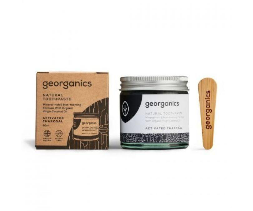 GEORGANICS Mineralna pasta do zębów w słoiku z aktywnym węglem i miętą pieprzową Activated Charcoal 60ml